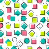 Cartões geométricos na moda de memphis dos elementos Textura retro do estilo, teste padrão e elementos geométricos Projeto abstra Fotos de Stock Royalty Free