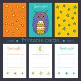 Cartões imprimíveis com coruja Fotos de Stock