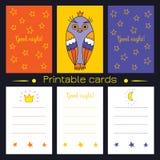 Cartões imprimíveis com coruja e estrelas Imagens de Stock