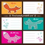 Cartões imprimíveis dos animais da floresta Fotografia de Stock