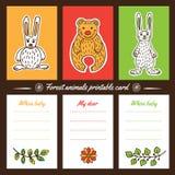 Cartões imprimíveis dos animais da floresta Imagem de Stock Royalty Free