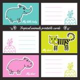 Cartões imprimíveis dos animais tropicos Imagem de Stock