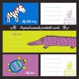 Cartões imprimíveis dos animais tropicos Imagens de Stock Royalty Free