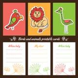 Cartões imprimíveis dos pássaros e dos animais Imagens de Stock