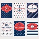 Cartões náuticos da festa do bebê Imagem de Stock