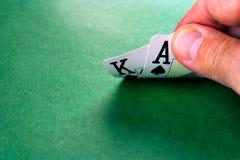 Cartões na superfície do verde Imagem de Stock Royalty Free
