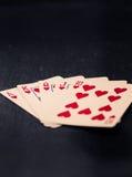 Cartões no coração, cores do resplendor real do estilo do vintage Imagem de Stock Royalty Free
