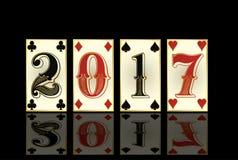 Cartões novos do pôquer de 2017 anos Fotos de Stock Royalty Free