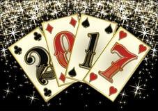 Cartões novos do pôquer de 2017 anos, vetor Fotos de Stock Royalty Free