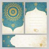 Cartões ornamentado do vintage com flores e ondas Imagens de Stock