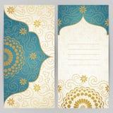 Cartões ornamentado do vintage com flores e ondas Imagens de Stock Royalty Free