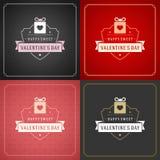 Cartões ou cartazes felizes do dia de Valentim ajustados Fotografia de Stock