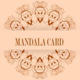 Cartões ou convites com teste padrão da mandala Vintage do vetor desenhado à mão Fotos de Stock Royalty Free