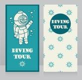 Cartões para a excursão de mergulho com submarino do vintage Imagens de Stock