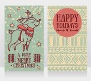 Cartões para o Natal com os cervos bonitos do Natal na camiseta ilustração royalty free