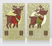 Cartões para o Natal com os cervos bonitos nas camisetas ilustração royalty free