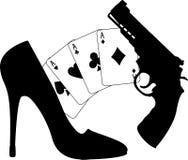 Cartões, pistola e sapata das mulheres ilustração royalty free