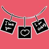 Cartões pretos às letras em um fundo cor-de-rosa ilustração royalty free