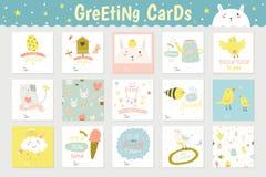 Cartões quadrados bonitos Fotografia de Stock
