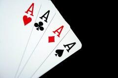 Cartões quatro áss Foto de Stock