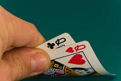 Cartões quatro ou duas rainhas do cartão 08 Imagens de Stock