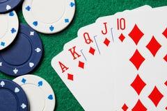 Cartões reais do póquer do resplendor reto Foto de Stock Royalty Free