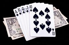 Cartões reais nivelados com dinheiro Fotos de Stock Royalty Free