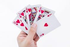 Cartões reais nivelados isolados no fundo branco Fotografia de Stock