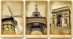 Cartões retros de Paris ilustração stock