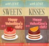 Cartões retros do vintage dois ao dia de Valentim ilustração stock