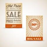 Cartões retros velhos do grunge do vintage para a venda Imagem de Stock