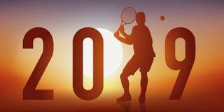 2019 cartões tênis-temáticos com um jogador de tênis na ação, um recuo ilustração do vetor