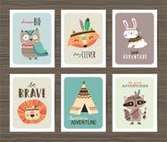 Cartões tribais dos animais Fotografia de Stock Royalty Free