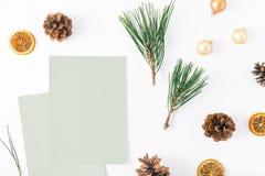 Cartões vazios, árvore de Natal, cones do pinho, laranja seca, Natal b Fotografia de Stock
