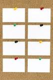 Cartões vazios com os pinos do impulso em Cork Board Fotografia de Stock Royalty Free