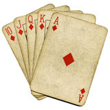Cartões velhos do póquer do vintage do resplendor real. Fotografia de Stock