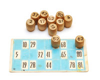 Cartões velhos e números do bingo Fotos de Stock Royalty Free