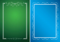 Cartões verdes e azuis com quadros brancos Fotos de Stock Royalty Free