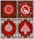 Cartões vermelhos de cumprimento do vintage mágico por feriados de inverno com a grinalda branca de papel cortada, árvore de Nata ilustração royalty free