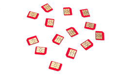 Cartões vermelhos de SIM Imagem de Stock Royalty Free