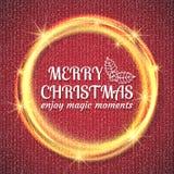 2018, cartões vermelhos e brancos com Feliz Natal text e quadro do brilho do ouro Fundo efervescente do feriado, poeira do vetor ilustração royalty free