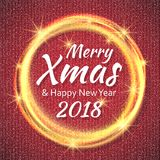 2018, cartões vermelhos e brancos com Feliz Natal text e quadro do brilho do ouro Fundo efervescente do feriado, poeira do vetor ilustração do vetor