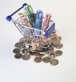 Cart. Shopping cart full with cash stock photo