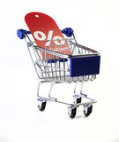 Cart. Shopping cart with discount sign royalty free stock images