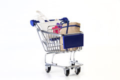 Cart. With shopping bags on white background stock photo