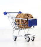 Cart. With cookies on white background royalty free stock photo