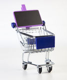 Cart. Shopping cart with sign on white background stock photos