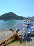 Cart and anchor,Lefkada island coast,Greece Stock Photography