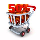 Cart And Percent 50 Royalty Free Stock Photos