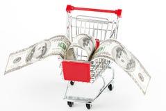 cart att shoppa för dollar Royaltyfri Bild